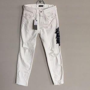 Zara Men's Distressed Floral Skinny Jeans Size 30